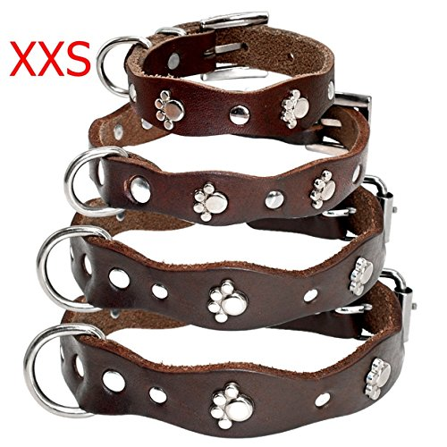1 Set Soft Brown Leather Adjustable Dog Collar Dogs Puppy Pet Chihuahua Pitbull Elastic Bow Bell Tag Sublime Popular Small Wide Reflective Safety Breakaway Training Camo Kitten Collars, Type-04 ()