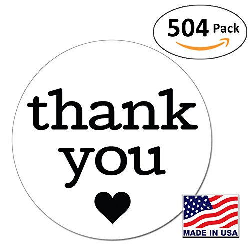 Order Free Gift Stickers - Pack of 504 1 Inch Round Thank You Sticker Labels with Black Hearts