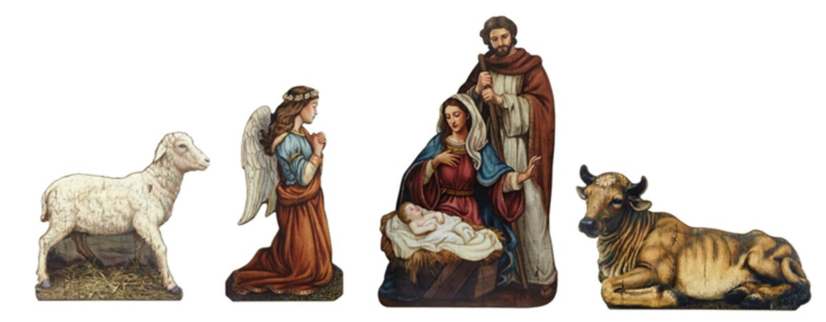 Avalon Gallery God's Gift of Love 4-Piece Nativity Tabletop Plaque Set, 6 Inch