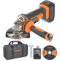 "VonHaus 20V MAX Cordless 4 1/2"" Angle Grinder Set with 1x Cutting Disc, 1x Diamond Tipped Disc and Adjustable Auxiliary Handle - Includes 4.0Ah Lithium-ion Battery, Smart Charger and Power Tool Bag"