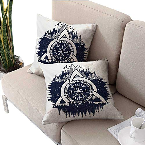 unrequitedlove Blue and White Pillowcase Pillow Shams Celtic Knot with Tridents Forest and Mountains Scandinavian Culture Pillows Shells, for Sofa Bedroom Car Chair 16