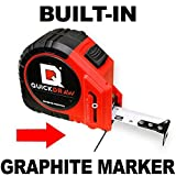 25' Foot QUICKDRAW PRO Self Marking Tape Measure - 1st Measuring Tape with a Built in Pencil - Contractor Grade Steel Tape - 25 Foot Power Locking Tape Ruler