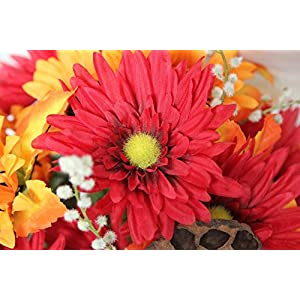 Admired By Nature GPB6409-OR/BG 14 Stems Artificial Sunflower, Gerbera Daisy And Lotus Root Mixed Flowers Bush For Home Office, Wedding, Restaurant Decoration Arrangement, Orange/Burgundy 2