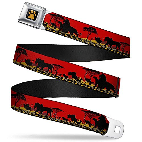 Buckle-Down Seatbelt Belt - Mufasa & Simba JUST CAN'T WAIT TO BE KING/Family Silhouette - 1.5