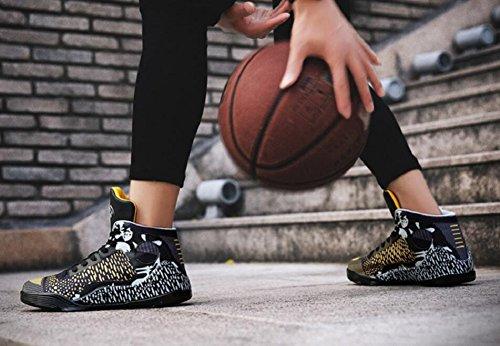 Frauen-Männer Leistungs-Sport-Basketball beschuht Breathable leichte Art- und Weiseturnschuhe durch JiYe Schwarzes Gold