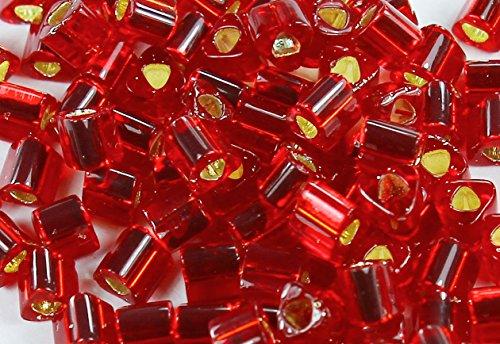8/0 Triangle TOHO Japanese Glass Seed Beads # 25C-Silver-Lined Ruby 15g
