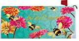 Bumblebees in the Garden - Mailbox Makover Cover - Vinyl witn Magnetic Strips for Steel Standard Rural Mailbox - Copyright, Licensed and Trademarked by Custom Decor Inc.