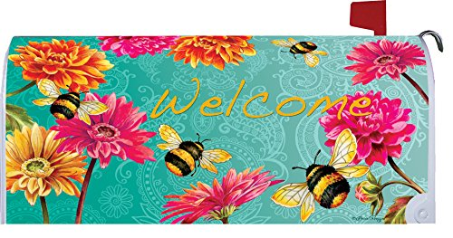 Bumblebees in the Garden - Mailbox Makover Cover - Vinyl witn Magnetic Strips for Steel Standard Rural Mailbox - Copyright, Licensed and Trademarked by Custom Decor Inc. by Custom Decor