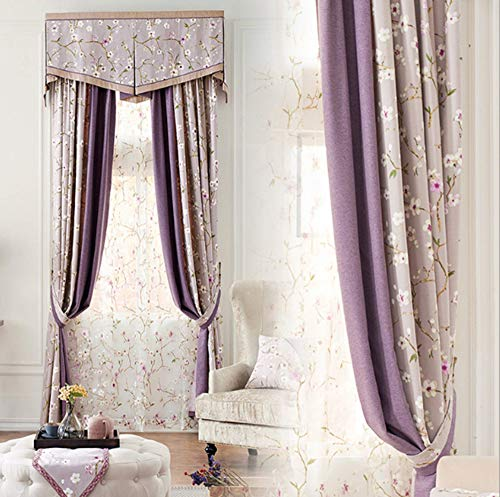Pair Thermal Insulated Cotton Curtains - NOMSOCR Blackout Curtains 2 Panels Set Print Cotton Linen Room Drapes Thermal Insulated Solid Grommets Window Treatment Pair Bedroom, Nursery, Living Room (Purple, W100 x L84)