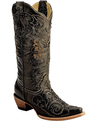 CORRAL Women's Vintage Distressed with Lizard Inlay Cowgirl Boot Snip Toe Black 9 M US