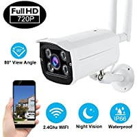 720P WiFi Security Bullet Camera Weatherproof IP66 Outdoor Indoor Surveillance IP Cameras with 4 Pcs IR LED Motion Detection Night Vision Max Support 128GB SD Card