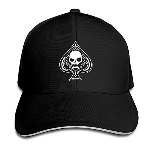 (Men & Women Dyed Cotton Adjustable Sandwich Baseball Cap Ace Of Spades Skull Dad Trucker Hat)