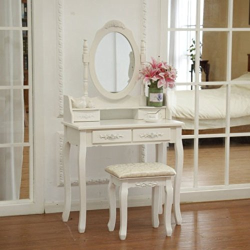FCH Wooden White 4 Drawers Vanity Table Set Princess Vanity Makeup Table with Cushioned Stool by FCH (Image #6)
