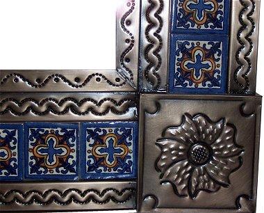 Fine Crafts Imports Big Brown Escudo Talavera Tile Tin Mirror