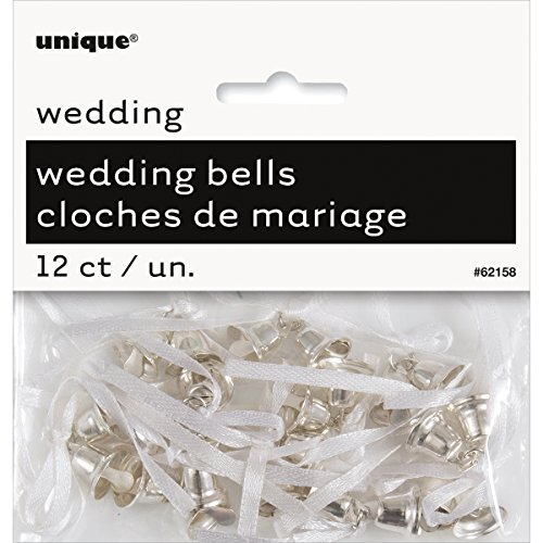 (Mini Plastic Silver Wedding Bells Favor Charms, 12ct)