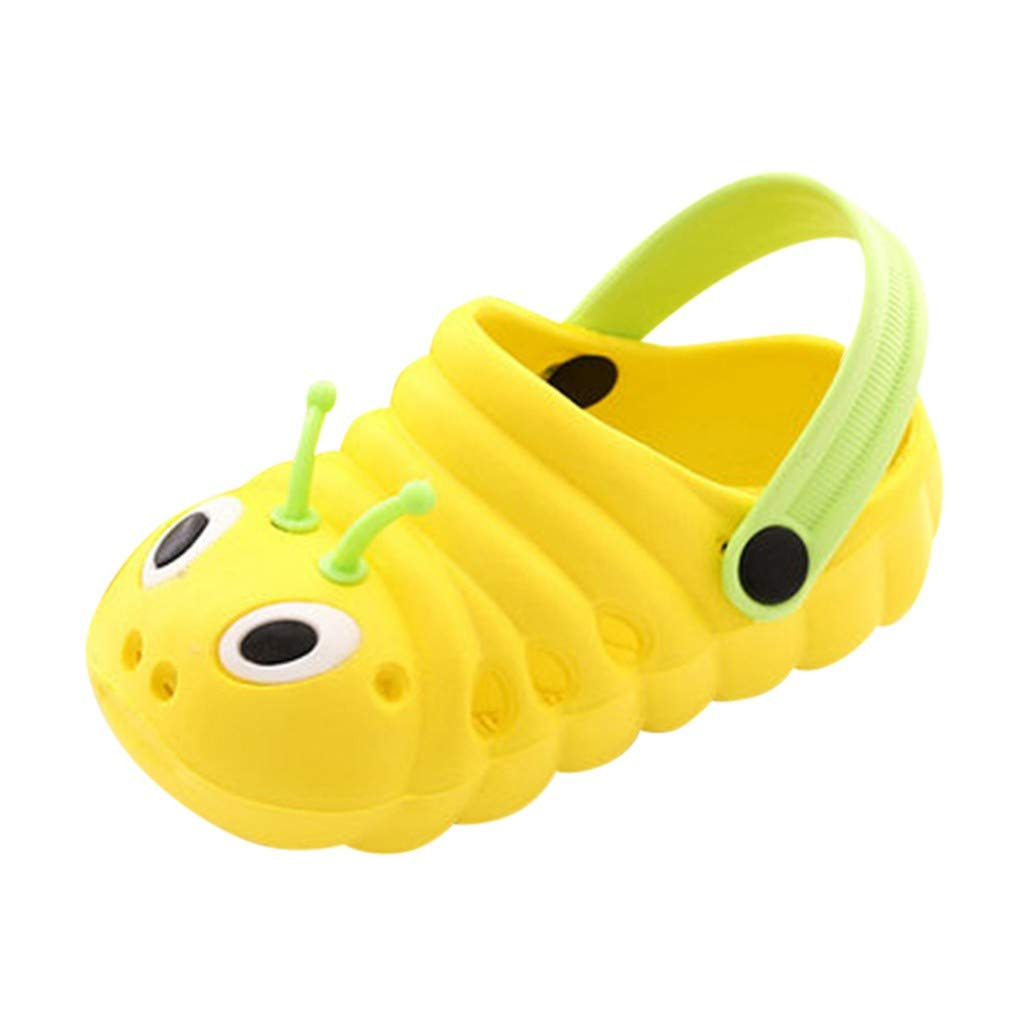 Dasuy Toddler Baby Boys Girls Cute Cartoon Beach Sandals Infant Summer Non-Slip Slippers Flip Shoes Size 18-29 (18, Yellow)