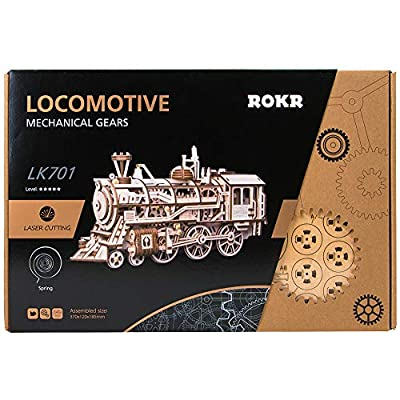 ROKR Locomotive Mechanical Wooden Gear 3D Puzzle Kit: Toys & Games