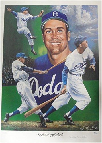 Pencil Dodgers Los Angeles (Duke Snider Signed Autographed 18x24 Poster Los Angeles Dodgers Pencil JSA)