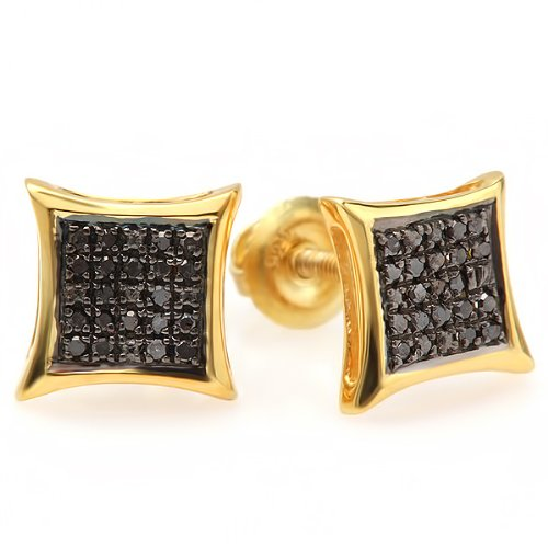 Yellow Gold Plated Sterling Silver Black Round Diamond Micro Pave Setting Kite Shape Stud Earrings 1/10 CT ()