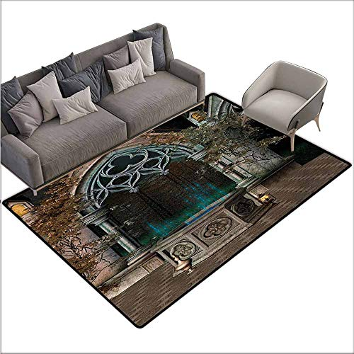 Bedroom Floor Rug Gothic Mystical Patio with Enchanted Wishing Well Ivy on Antique Gateway to Magical Forest All Season General W70 xL82 Grey Teal