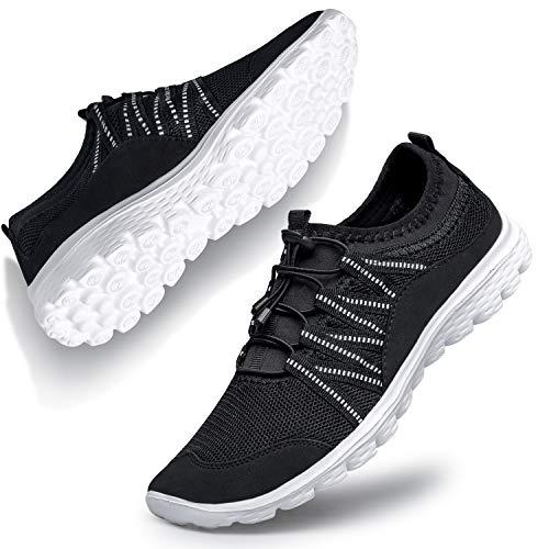 Belilent Womens Slip on Sneakers Walking Shoes for Women Breathable Work Nursing Casual Black Slip on Athletic Gym Sport Workout go Walk Shoes for Women Black/White 5 M US