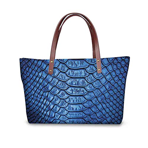 - Custom Handbag Tote Shopping Bags Animal Print,Vivid Colored Realistic Snake Reptile Skin Pattern Alligator in Blue Artwork Print,Blue Printing Purse To Backpack For Women