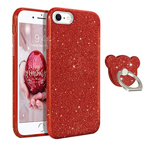 GUAGUA Compatible for iPhone SE 2020/8/7 Case Glitter Sparkle Bling Shiny Cute Cover for Girls Women with Extra Ring…
