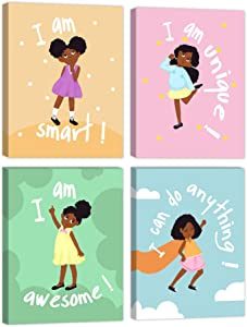 Girls Room Decor Wall Art Decoration for Girls Bedroom Motivational Black Girl Canvas Prints African American Canvas Art with Inspirational Words Gift Idea for Little Girls Framed Canvas Set of 4