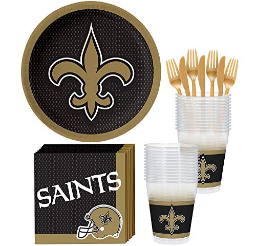 Party City New Orleans Saints Party Supplies for 18 Guests, Include Paper Plates, Paper Napkins, Cups, and Utensils