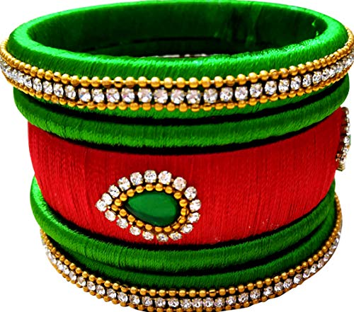 - GOELX Festive Offer: Beautiful Green Handcrafted Designer Silk Thread Bangles for Women - Red and Green - 2.6