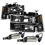 Chevy C/K Series GMT400 Facelifted 8pc Black Housing Headlight W/ Amber Lens Corner Light + 9006 LED Kit