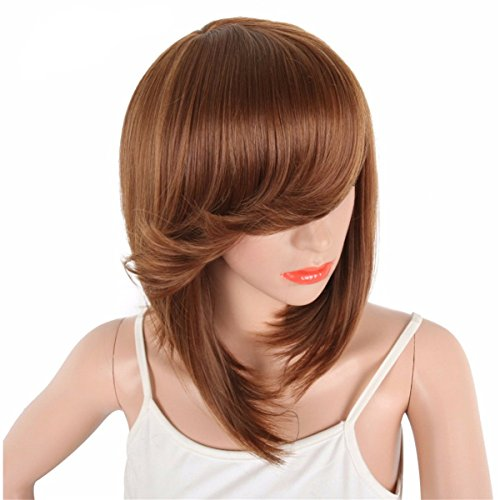 DEYSSNE Short Brown Straight Side Parting Bob Synthetic Wigs With Bangs For Black Women Brazilian Hairstyle Natural Heat Resistant Hair  ()