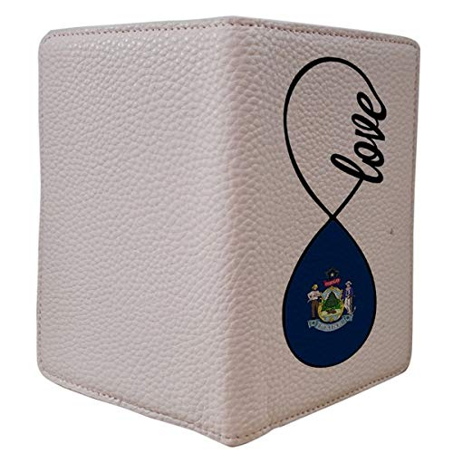 [OxyCase] Designer Light Weight PU Leather Passport Holder Cover/Case - Infinity Love Me Maine Flag Flag Design Printed Cute Travel Wallet for Girls/Women