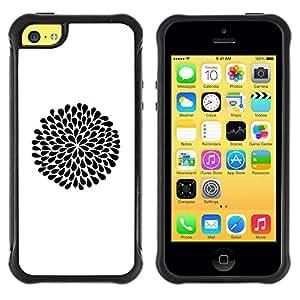 "Pulsar iFace Series Tpu silicona Carcasa Funda Case para Apple iPhone 5C , Minimalista Limpio Negro Flor de tinta blanca"""