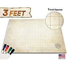 """Battle Grid Game Mat - 24"""" x 36"""" - Table Top Role Playing Map - DnD Role Play - RPG Dungeons and Dragons Maps Tiles - Reusable Miniature Figure Board Games - Tabletop Gaming Mats (Distressed Terrain)"""