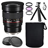 Samyang SY85M-FX 85mm F1.4 Aspherical Lens for Fuji X Mount w/Lens Hood + Protective Lens Case, Spider Flex Tripod & Other Accessory Bundle