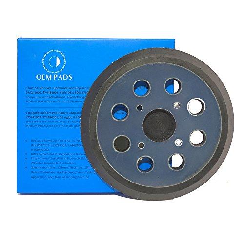 OEM Pads OEM3 5 Inch Sander Pad - Hook and Loop Replaces Milwaukee OE # 51-36-7090, Ryobi OE # 300527002, 975241002, 974484001, Rigid OE # 300527002 RSP28 (1) (Parts Sander Milwaukee)