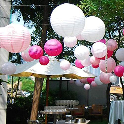 Sonnis Paper Lanterns 12'' 10'' 8'' 6'' Round lanterns for Birthday Wedding Baby Showers Party Decorations pink (12pack) by Sonnis (Image #4)