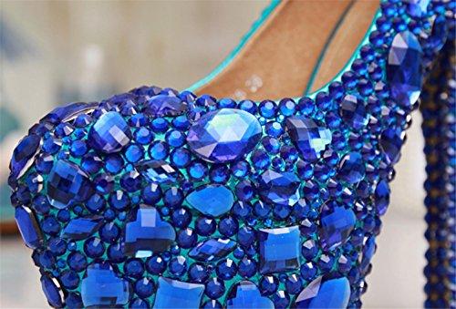 MariéE color Bridesmaids bonne qualité Rhinestones High Court Femmes Blue Plateforme Stiletto Designer Mariage Chaussures MNII Dentelle Talons Ladies Hauts Gem End RvUzq