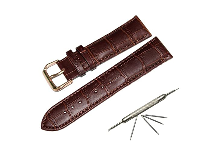 64a59a406ac Watch Band Replacment For Men 24mm Calf Leather Watch Strap Pink Spring Bar  Pin Buckle-