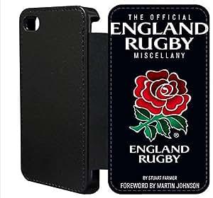 Wallet Flip funda por iPhone 4 4s [rugby Inglaterra] primera calidad Wallet Flip PU ??cuero funda por iPhone 4 4s [FDIOJPWAH6947]