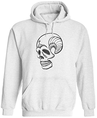 Austin Ink Apparel Unisex Mens Mexican Decorated Skull Pullover Hooded Sweatshirt (White, 2XL) ()