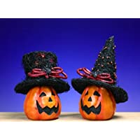 Large Pumpkin with LED Lit Witchs Hat Set of 2