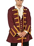 Dress Like A Pirate Captain ansell Frock Coat RE-enactor Clothing Quality (Large, Burgundy With Antique Gold Trim)