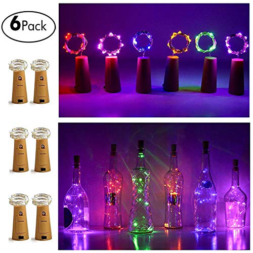 10LED Bottle Cork String Lights Wine Bottle Fairy Mini Copper Wire, Battery Operated Starry lights for DIY Christmas Halloween Wedding Party Indoor Outdoor Decoration, 6 Pack (Mulit-color)