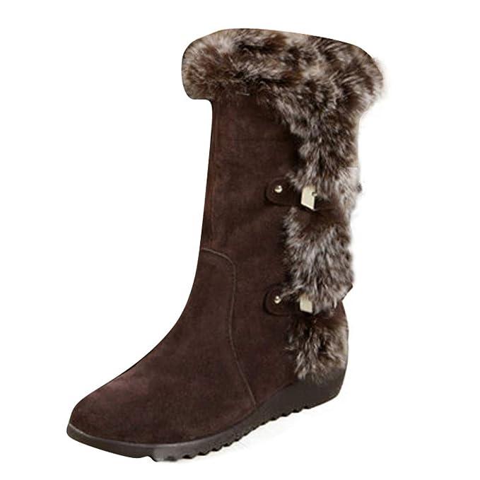 Viernes Negro JiaMeng Botas de Invierno Botas cálidas de Mitad de la Pantorrilla Zapatos de Invierno cálidos Impermeable Plano Botines con Forro Calentar: ...