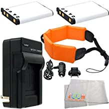 2 Pack of 1300mAh Intelligent Li-Ion NP-45 Replacement Battery And Charger Kit + Floating Strap & Microfiber Cleaning Cloth for Fujifilm FinePix XP60, XP70, XP75 & XP80 Waterproof Digital Cameras