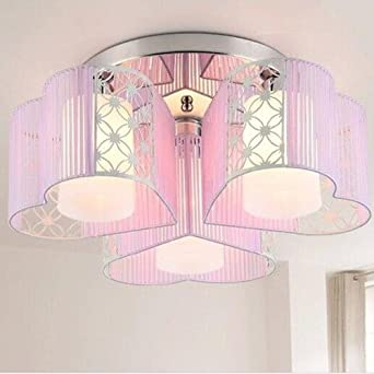 LightInTheBox Modern Art Deco Fabric Chandelier Pink Pendant Flush Mount Ceiling Fixtures Light 3 Lamps for Dining Living Study Rooms Girls Room White