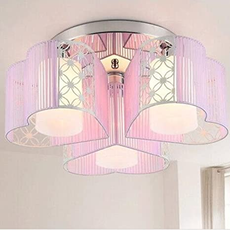 Amazon Com Lightinthebox Modern Art Deco Fabric Chandelier Pink Pendant Flush Mount Ceiling Fixtures Light 3 Lamps For Dining Living Study Rooms Girls Room White 1pc Home Improvement