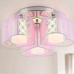 LightInTheBox Modern Art Deco Fabric Chandelier Pink Pendant Flush Mount Ceiling Fixtures Light 3 Lamps For Dining Living Study Rooms Light Source= White
